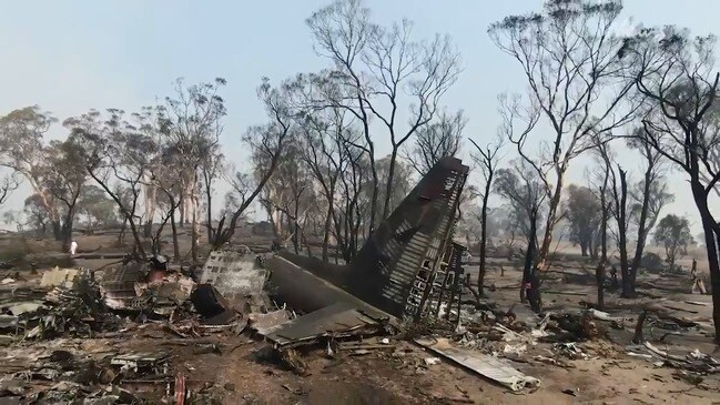 Vision of the air tanker crash site in NSW