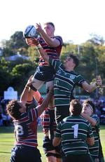 TSS lock Marlon Jones competes with BBC lock Jacob Blyton. GPS Rugby: Brisbane Boys' College v The Southport School at BBC Saturday 24th August 2019. (AAP Image - Richard Waugh)