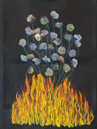 Flames and flowers art.