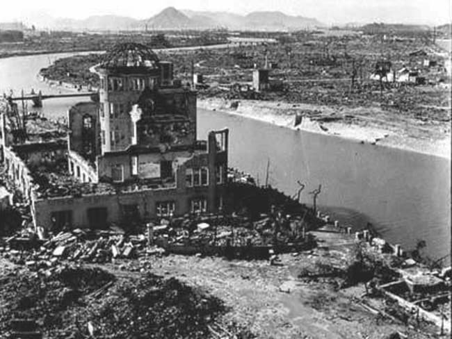 The remains of the Prefectural Industry Promotion Building after the bombing of Hiroshima. Picture: Shigeo Hayahsi