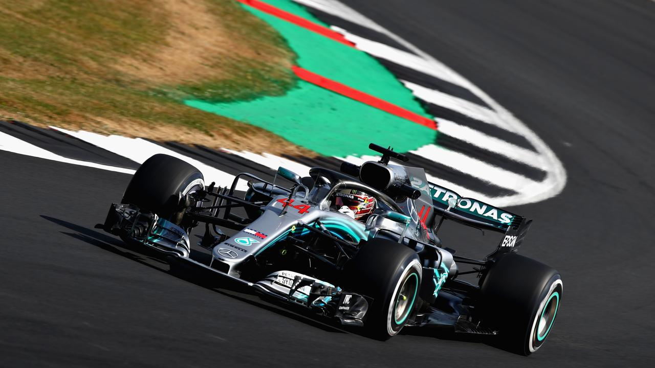 Lewis Hamilton on track during practice for the British GP at Silverstone.