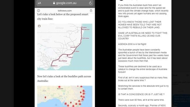 Bizarre conspiracy theories about the bushfires are spreading on social media.