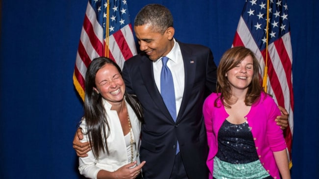President Obama with Alyssa (right). Photo: Twitter