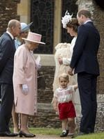 Queen Elizabeth II, Prince Phillip, Duke of Cambridge, Camilla, Duchess of Cornwall,Catherine, Duchess of Cambridge, Prince William, Duke of Cambridge, Princess Charlotte of Cambridge and Prince George of Cambridge arrive at the Church of St Mary Magdalene on the Sandringham Estate for the Christening of Princess Charlotte of Cambridge on July 5, 2015 in King's Lynn, England. Picture: Getty