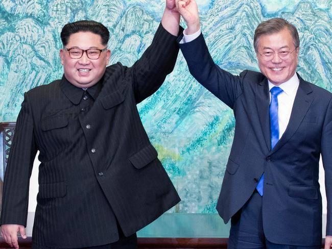 Kim Jong-un and South Korea's President Moon Jae-in during a signing ceremony near the end of their historic summit at the truce village of Panmunjom. Picture: Korea Summit Press Pool / Korea Summit Press Pool