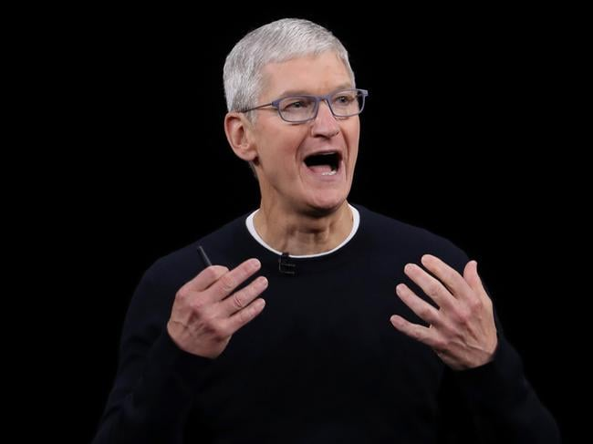 Apple CEO Tim Cook delivers the keynote address during the special launch event. Picture: AFP