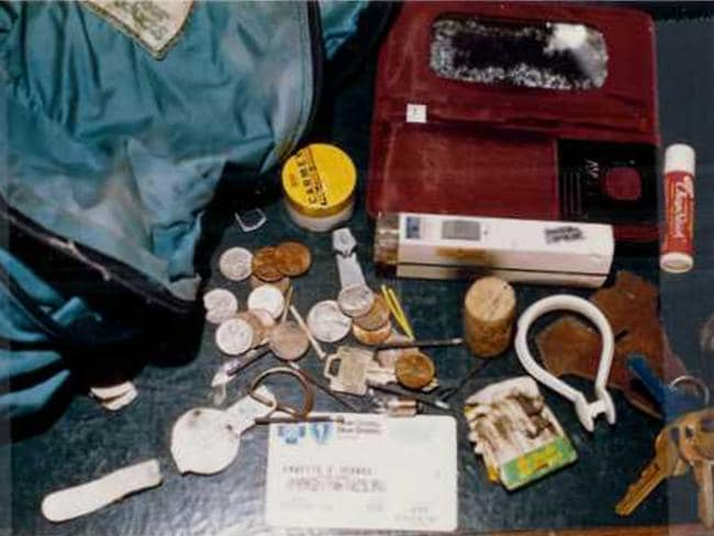 Annette Schnee's backpack and contents that were found near Oberholtzer's body.