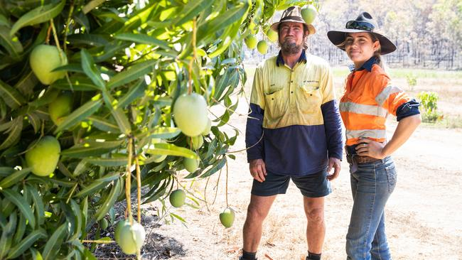 Mango farmer Dave Gray with daughter Jackie Gray at their property near the Adelaide River, in the Northern Territory. Picture. Helen Orr