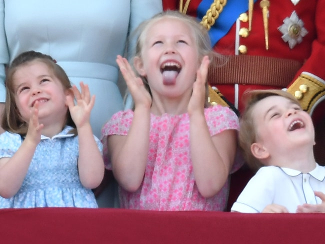 Cheeky monkeys Princess Charlotte, Savannah Phillips and Prince George. Photo: James Whatling / MEGA