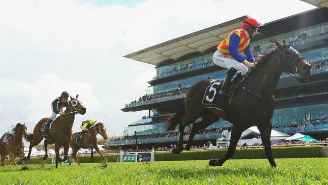 Pierata ploughed the heavy conditions to win the Sydney Stakes. Picture: Getty Images