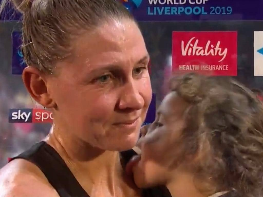Maia stole the show off her mum Casey at the Netball World Cup.