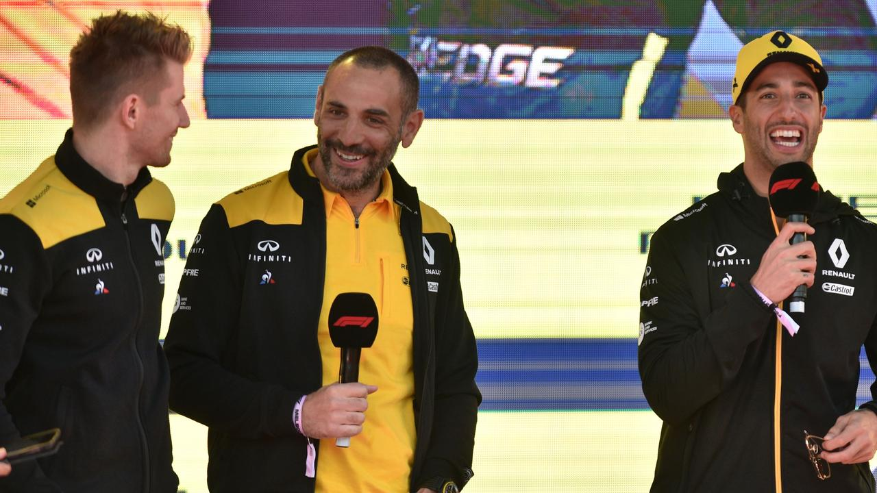 The dynamic between Hulkenberg, Abiteboul and Ricciardo is pleasant - but for how much longer?