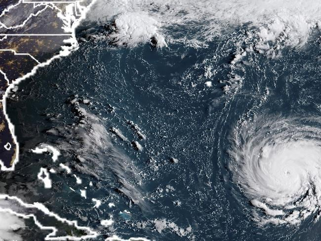 Hurricane Florence is heading toward the US East Coast, the National Hurricane Center said. Picture: HO/NOAA/RAMMB/AFP