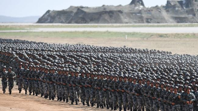 Then of thousands of Chinese soldiers march in the parade. Picture: Picture: AFP