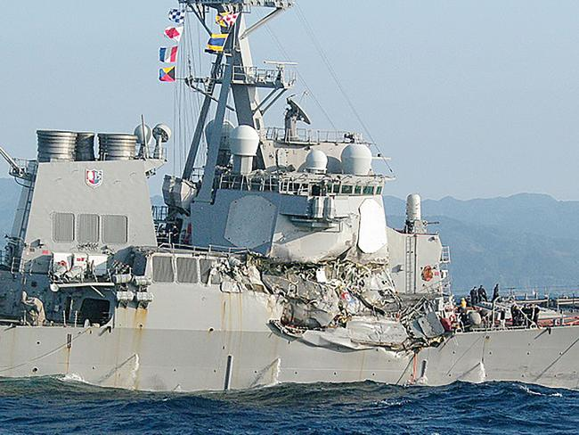 A handout photo from Japan Coast Guard shows damages to the USS Fitzgerald after it collided with a Philippine-flagged container ship on June 17, 2017.