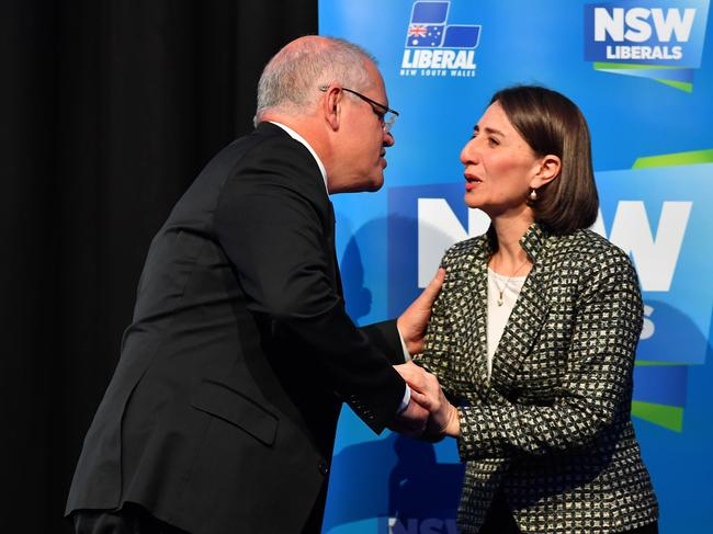 With the election of NSW Premier Gladys Berejiklian (above, right) out of the way, Scott Morrison may call the lection this weekend. Picture: Dean Lewins.