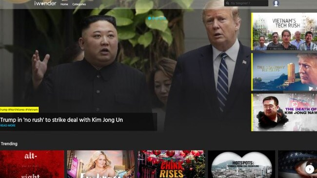 iwonder's homepage offers recommendations tied into the news cycle