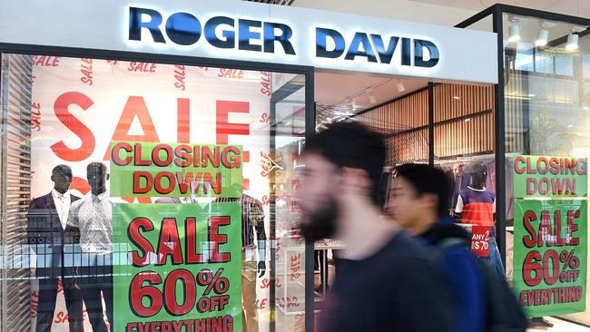 A Roger David store in Pacific Fair, Broadbeach during its final days. Picture: John Gass