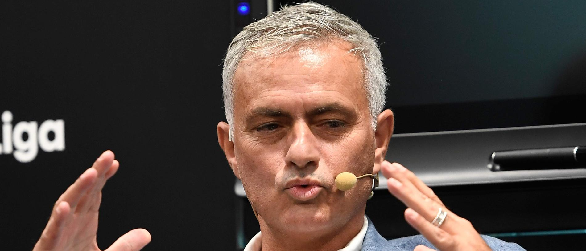 Portuguese football manager Jose Mourinho attends a conference about speed and innovation in football on September 12, 2019 in Madrid. (Photo by PIERRE-PHILIPPE MARCOU / AFP)