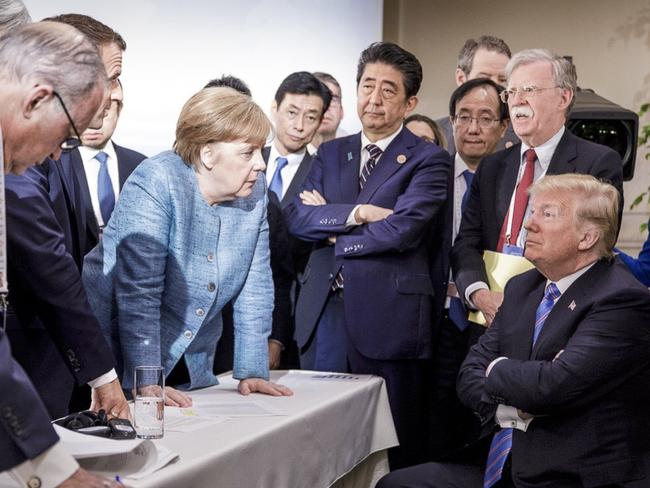 This photo released by Angela Merkel's office sums up Donald Trump's time at the G7 summit. Picture: Jesco Denzel/German Federal Government via AP