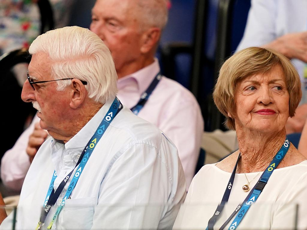 Margaret Court and husband Barry watch the men's semifinal at the Australian Open.