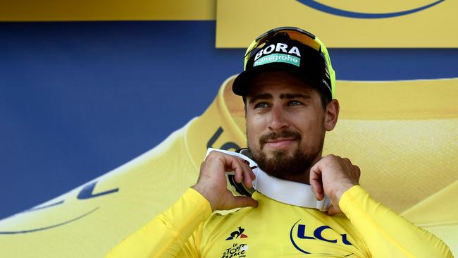Slovakia's Peter Sagan picked up the yellow jersey during stage two of this year's Tour de France. Picture: AFP