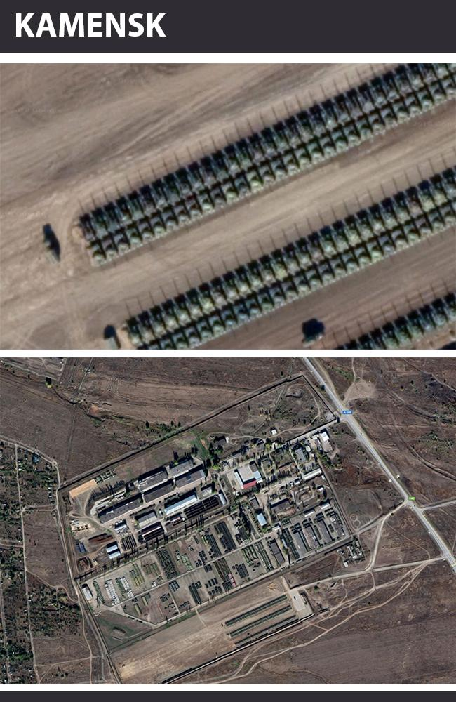 Russian tanks, artillery, armoured vehicles and trucks situated on the border with Ukraine at Kamensk-Shakhtinsky. Pictures: Google Earth