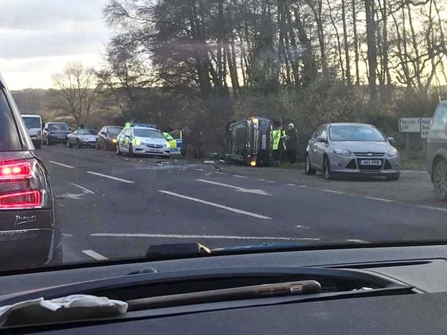 Prince Philip was unhurt in the crash. Picture: Mega Agency