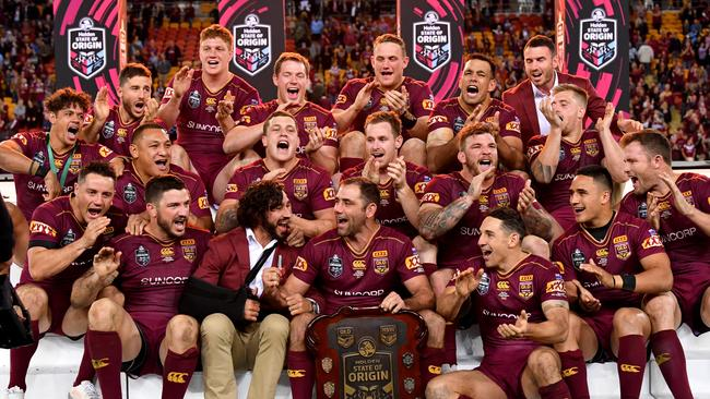 The Queensland Maroons celebrate winning the 2017 State of Origin series. Picture: Darren England/AAP