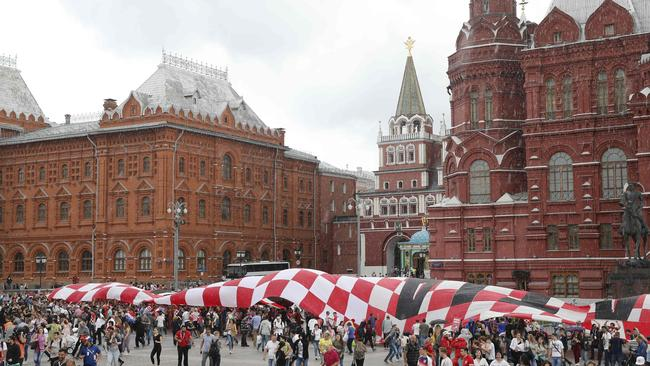 Croatia's supporters deploy a giant flag on Manezhnaya square in Moscow.