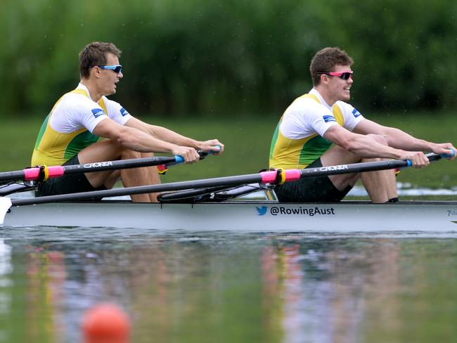 Alexander Belonogoff and James Mcrae, from right, from Australia placed second in the Men's Double Sculls Final.