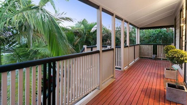 The front veranda on the house at 320 Harcourt St, Teneriffe, before it was renovated.