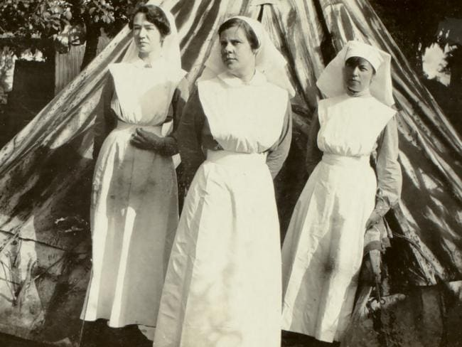 Foreboding ... Nurse Ada Smith (left) with colleagues at . Picture: Australian War Memorial