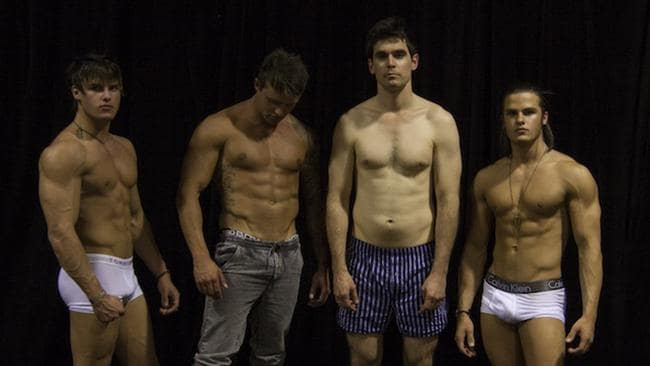 Sabour Bradley (third from left) explores the world of underground bodybuilding and experiments with muscle-shaping substances for his ABC documentary series Heart First. Source: Supplied (ABC).