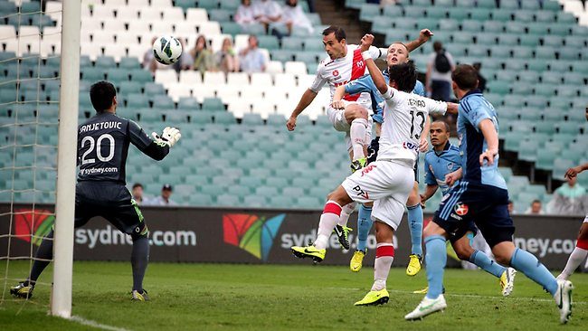 Richard Garcia climbs high to head Melbourne Heart into the lead. Picture: Gregg Porteous