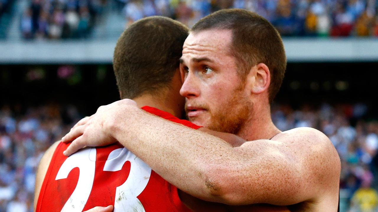 Jarryd Roughead and Lance Franklin after the 2014 AFL Grand Final. Picture: Wayne Ludbey