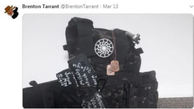 Tarrant posted photos to his now-suspended Twitter account of what appears to be guns, ammunition and a military-style vest. Source:Twitter