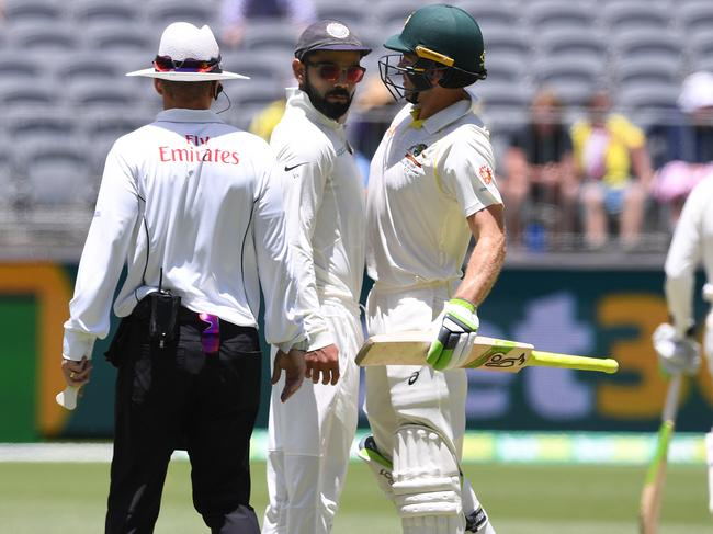 Paine and Kohli clashed in Perth.