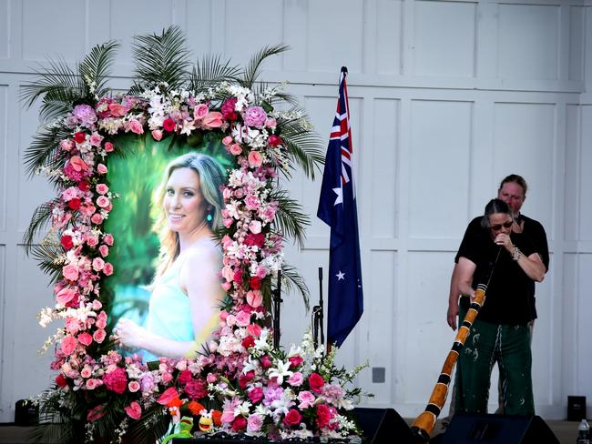 A memorial is held at the Lake Harriet Bandshell in Minneapolis, Minnesota for Australian woman Justine Damond. Picture: Nathan Edwards