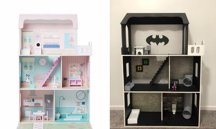 Genius mum hacks Kmart dollhouse into epic Batcave