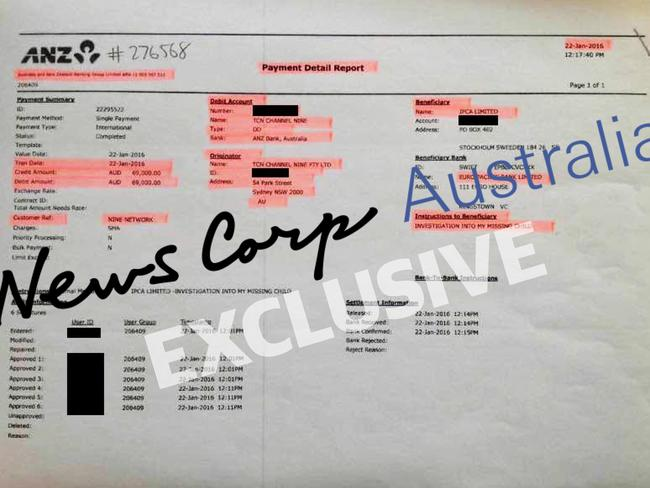 ANZ Payment Detail Report showing payment of $69,000 from TCN Channel Nine Pty Ltd to Adam Whittington for Investigation Into My Missing Child. Picture: Supplied