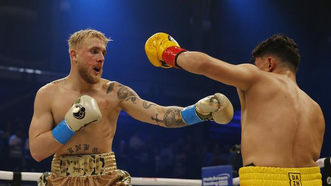 Jake Paul punches AnEsonGib during their fight in January. Picture: Michael Reaves / Getty Images