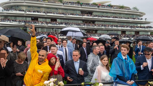Wet weather had an impact on the turnout on Derby Day. Picture: Jay Town