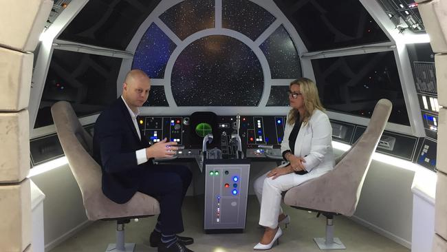 David Jones CEO David Thomas with The Walt Disney Company Australia and New Zealand managing director Kylie Watson-Wheeler at the Star Wars world at David Jones' Elizabeth St store in Sydney.