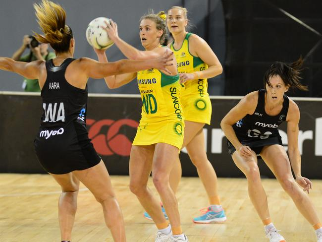 Grace Kara of New Zealand and Australian star Gabrielle Simpson in the recent Quad series.