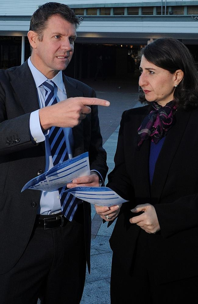 Who will take the crown? Treasurer Mike Baird with Transport Minister Gladys Berejiklian in Mr Baird's electorate of Manly last year.