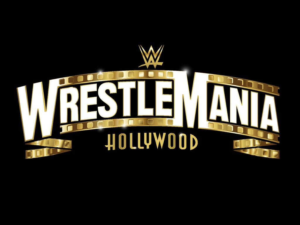 The logo for WrestleMania 37, which will be held at Los Angeles' new SoFi Stadium.