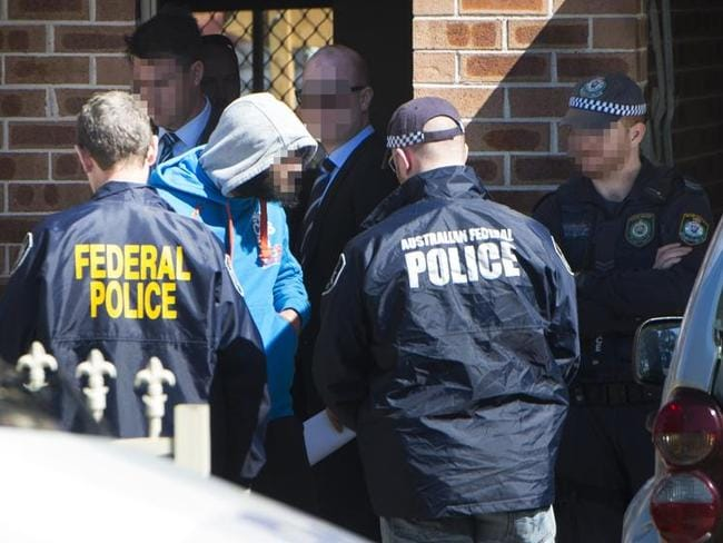 State and federal police raided homes in Brisbane and Sydney as part of an anti-terror operation. Picture: Chris McKeen
