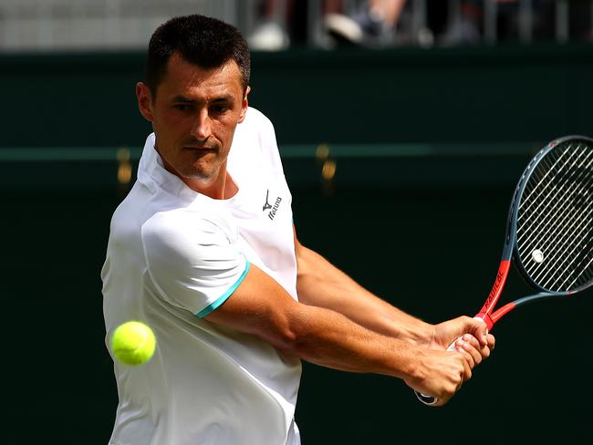 Tomic in action.