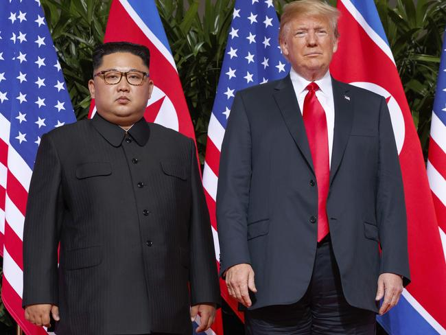 """US President Donald Trump, right, maintains he has a """"solid"""" relationship with North Korean leader Kim Jong-un. Picture: AP Photo/Evan Vucci, File"""